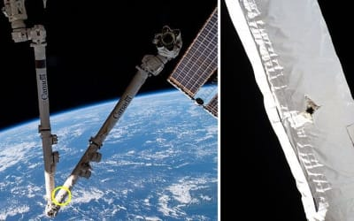 SPACE DEBRIS CAUSES DAMAGE TO THE ISS.