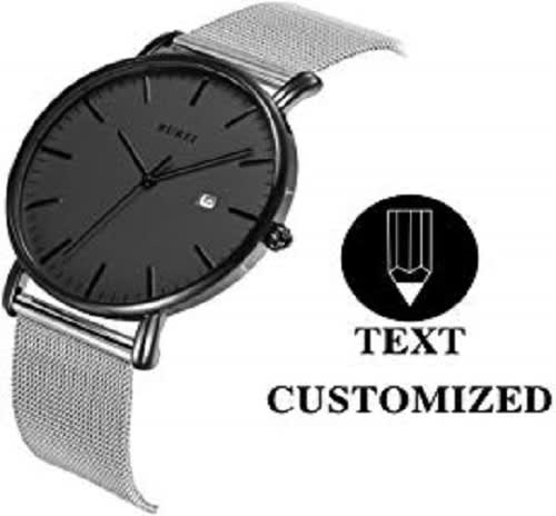 BUREI Personalized Men Watch Text Customization DIY Slim Quartz Wrist Watch and Stainless Steel Mesh Band Especial Gift for Loved One
