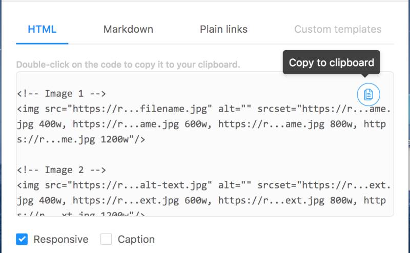 Picpipe - Export images in HTML or Markdown.
