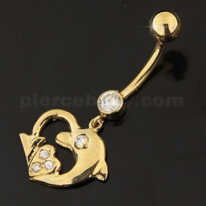 Dolphin Heart Shape Jeweled Dangling 14K Gold Navel Ring