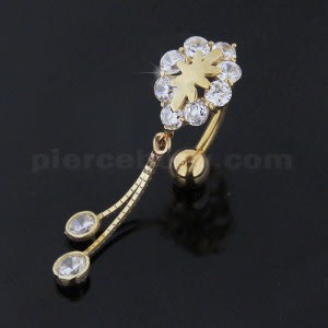 Dangling Jeweled 14K Gold Reverse Belly Ring
