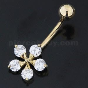 Flower Shape Jeweled 14K Gold Banana Bar Belly Ring