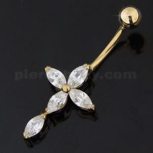 Jeweled 14K Gold Cross Banana Bar Navel Ring