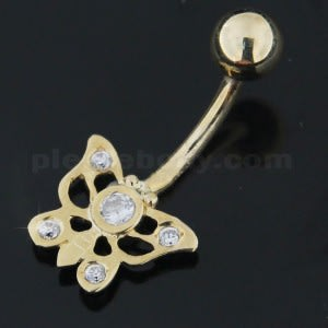 Butterfly Jeweled 14K Gold Navel Ring