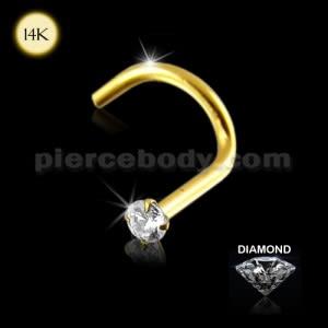 14K Gold Genuine DIAMOND Nose Screw