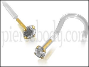 Bio-Plast Nose Screw with 14K Gold Round Head