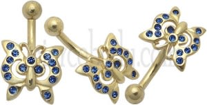 Dark Blue Jeweled Butterfly 14K Gold Belly Ring