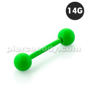 Neon Green 316L Surgical steel Straight Barbells