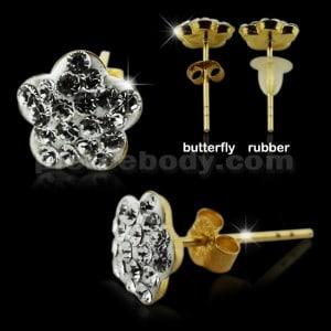 9K Gold Multi Jeweled Flower Ear Stud