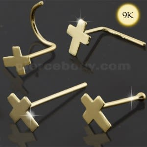 9K Solid Gold Cross Nose Studs