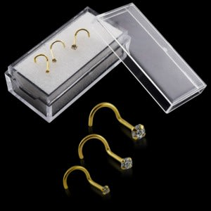 9K Solid Yellow Gold Round CZ Jeweled Nose Screw in Box