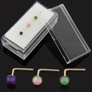 Opal Stone 9K yellow Gold L-Shape Nose Stud 3 Pieces in Box
