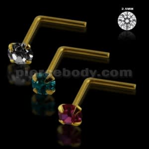 Clear,Aqua and Pink Color 9K Gold L-Shape Nose Pins in Mini Box
