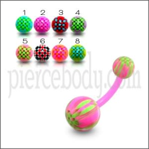 UV Belly Curved Bar With Mix Colorful UV Balls