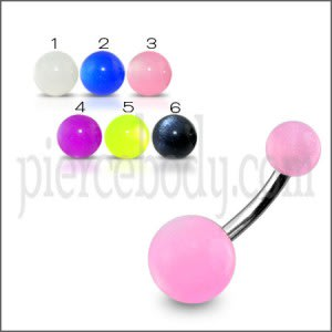 SS Banana Bar Navel Ring With Pink UV Balls