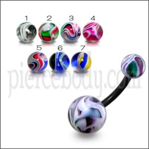 10mm UV Navel Banana Bar Ring With UV Marble Balls