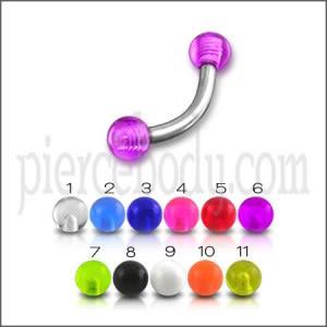 SS Eyebrow Banana Ring with Purple Color UV Balls