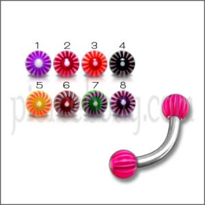 SS Eyebrow Banana with 3mm Red Color UV Printed Balls Body Jewelry
