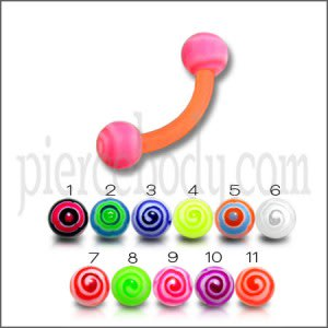 Orenge UV Eyebrow Banana Ring with Pink UV Circle Print Balls