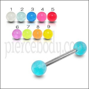 SS Tongue Barbell With Single Color UV Balls