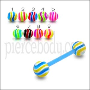 UV Tongue Barbell With UV Beach Balls
