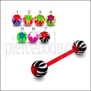 UV Red Tongue Barbell with MIx Color Star UV Balls