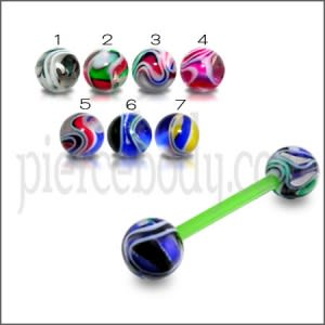 Green UV Tongue Barbell with Mix Purple UV Balls