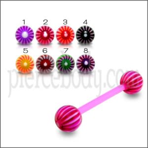 Assorted Color Flexible Straight Barbell with UV Ball Tongue Piercing Rings