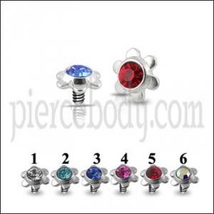 Flower Jeweled Dermal Anchor Tops | Dermal Anchors