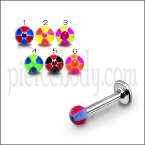 SS Tounge Labret With UV Mix Color Football Shade Fancy Balls