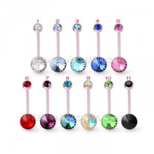 Pink BioFlex base Jeweled Belly Ring