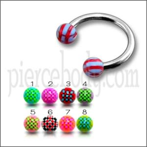 CBB 8mm to 12mm Horseshoe Ring With Mix Color UV Balls