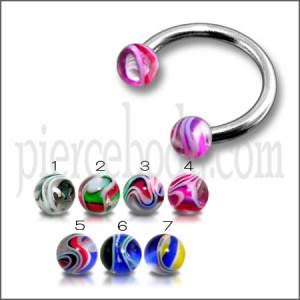 SS Circular Barbells CBB Horseshoe With UV Multi Color Ball
