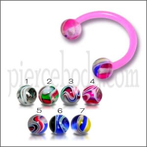 Pink Horseshoes UV Circular Barbell Eyebrow Or Lip Ring with UV Balls