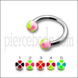 SS Circular Barbells Rings with Peach Color UV Balls