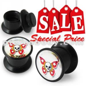 Butterfly Skull Logo With Screw Fit Ear Flesh Tunnel