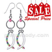 Multi Color Crystal Dangling Costume Earring