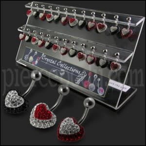 Crystal Heart in Heart Belly Rings in Display