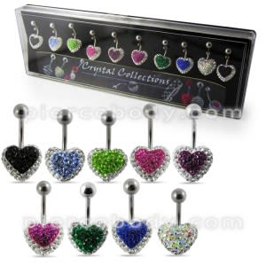 Multi Crystal Heart Belly Rings in Display