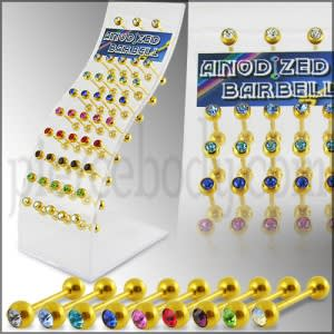 Gold Anodized Jeweled Barbell in a Display