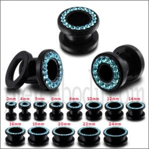 UV Aqua Multi Stones Ear Flesh Tunnel in Glue Stting