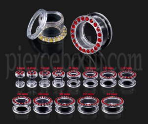 UV Transparent Multi Garnet Red Jeweled Ear Flesh Tunnel
