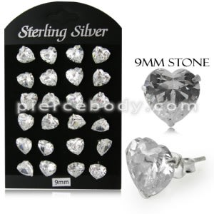9MM CZ Heart Ear Stud in 12 pair Tray