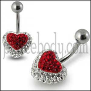 Red Crystal stone Heart With SS Banana Bar Navel Belly Ring