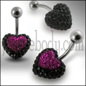 Black And Pink Crystal stone Heart With Curved Barbell Navel Ring