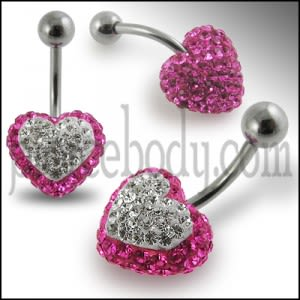 Crystal stone Heart Banana Bar Ring FDBLY330