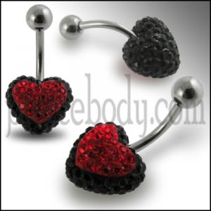 Black And Red Crystal stone Heart Navel Ring With SS Curved Barbell