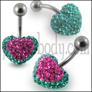 Red Crystal stone Heart With Banana Bar Body Jewelry Belly Ring