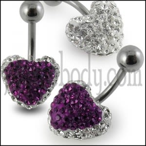 Purple Crystal stone Heart Belly Ring With SS Banana Bar
