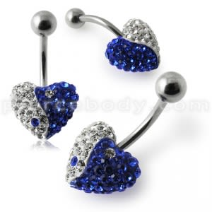 Crystal Stone Heart Ying Yang Banana Belly Ring